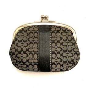 COACH Canvas Monogram Kisslock Coin Purse